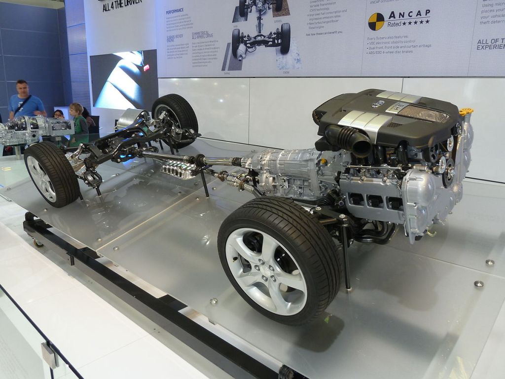 Car wheels and transmission and engine components;  a powertrain.