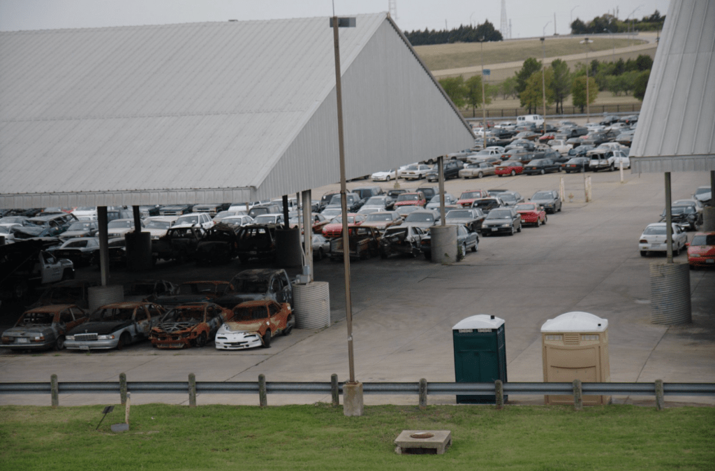 Buying a seized car can mean choosing from an impound lot like this.